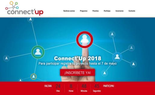 Entrada a la página web de Connect'Up, que hoy empieza a operar para los interesados en el concurso.