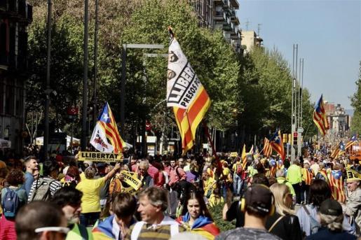 Imagen de la manifestación por la libertad de los presos soberanistas, en Barcelona.