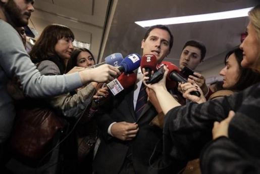 El presidente de Ciudadanos, Albert Rivera en declaraciones a los medios.