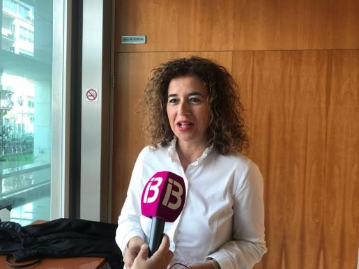 Pilar Costa ayer durante sus declaraciones en el Consell d'Eivissa.