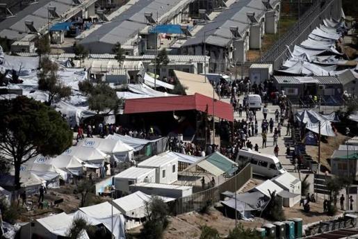 Imagen del campo de refugiados de Moria, en Lesbos.