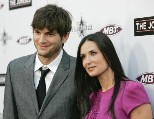La actriz Demi Moore junto al también actor Ashton Kutcher.