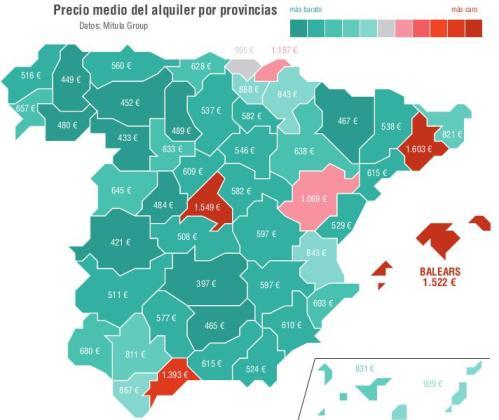 Según los precios medios de alquiler por provincias, Baleares es la tercera con los precios más elevados, solo por detrás de Barcelona y Madrid.