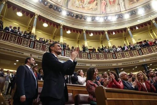 Pedro Sánchez tras su nombramiento en el Palacio de Congresos