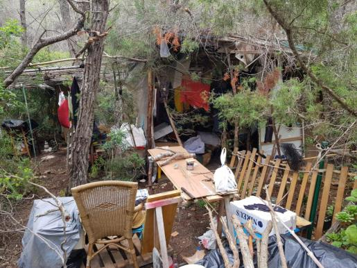 Imagen del asentamiento ilegal en Es Novells (Santa Eulària).