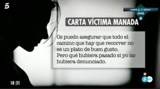 Pantallazo de una imagen televisiva de uno de los fragmentos de la carta dada a conocer este miércoles por Ana Rosa Quintana.