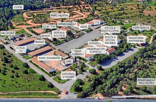 Mapa del antiguo recinto militar con los nuevos usos que tendrá cada pabellón.