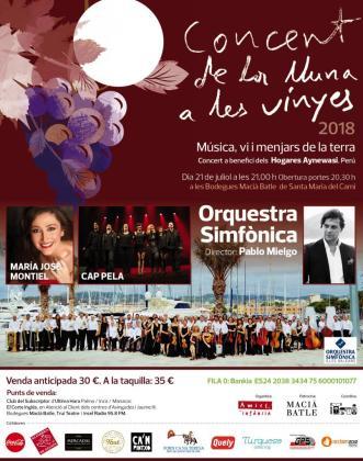 Cartel del Concert de la Lluna a les Vinyes, que se celebra en las bodegas Macià Batle de Santa Maria.