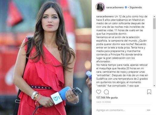 Sara Carbonero publica un enternecedor mensaje recordando el Mundial de fútbol.