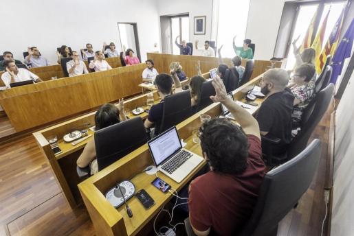 Momento de la votación para la aprobación de la ordenanza que regula el consumo de alcohol.