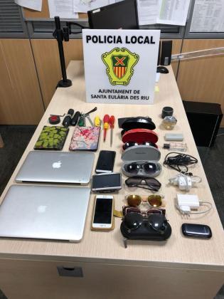 Artículos recuperados por la Policía Local de Santa Eulària