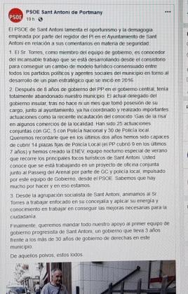 Comunicado que el PSOE de Sant Antoni escribió en Facebook.