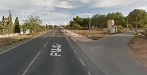 Tramo de la carretera entre Santa Gertrudis y Sant Miquel.