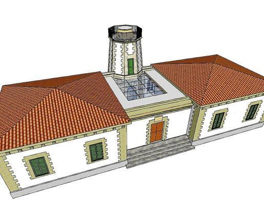 Dibujo del proyecto de techo solar semitransparente en el faro de Ses Coves Blanques.