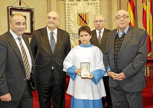 Josep Prohens, Miguel Deyá, José Cabot, Baltasar Bibiloni y el prior de Lluc, Jaume Reynés.