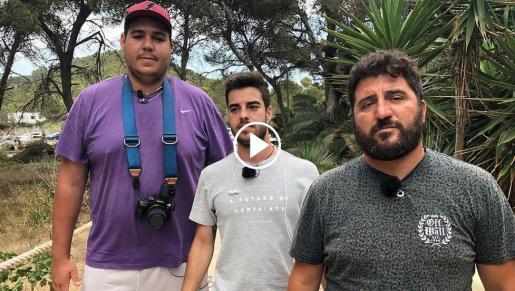 El paparazzi Sergio Garrido, el primero por la derecha, junto a su equipo del programa.