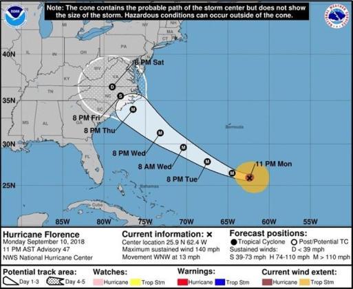 El huracán 'Florence' mantiene su fuerza al este de Carolina del Norte.