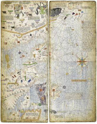 Una de las láminas del Atlas de cartes marines del cartógrafo de la Escuela Mallorquina Abraham Cresques.