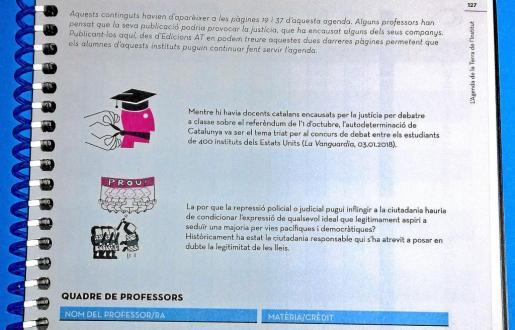La última página de la agenda del IES Sa Colomina que ha desencadenado la acusación por «adoctrinamiento pancatalanista».