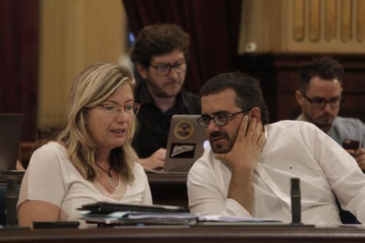 Imagen de archivo del conseller de Medi Ambient, Vicenç Vidal (d), junto a la consellera de Salut, Patricia Gómez (i).