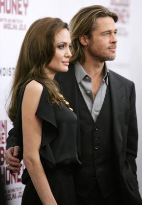 La actriz Angelina Jolie junto a su marido Brad Pitt.