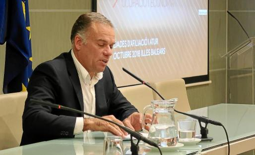 El director general de Ocupació i Economia, Llorenç Pou, explicó ayer los datos ante los medios de comunicación.