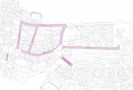 Mapa de las zonas donde se mejorarán la accesibilidad en el barrio de Can Guasch.