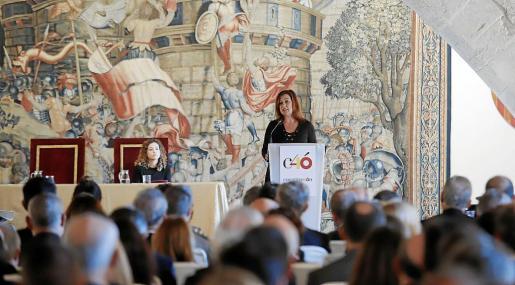 La presidenta del Govern balear, Francina Armengol, durante su alocución en el acto celebrado en Palma.