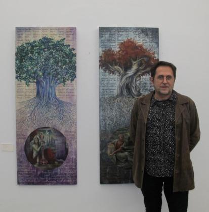 El artista alicantino Ramón Pérez Carrió el viernes durante la inauguración en Es Refectori del Ajuntament de Vila.