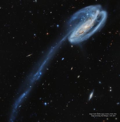 'El renacuajo cósmico' está a 420 millones de años luz de distancia en la constelación circumpolar de Draco