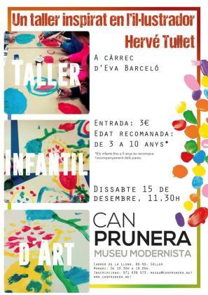 Cartel del taller infantil que acoge Can Prunera.