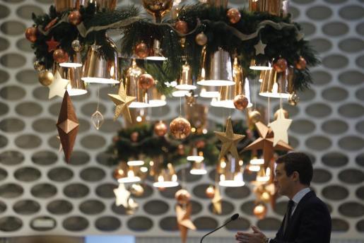 El presidente del PP, Pablo Casado, durante su intervención en un coloquio en el Club Siglo XXI, este lunes en Madrid.
