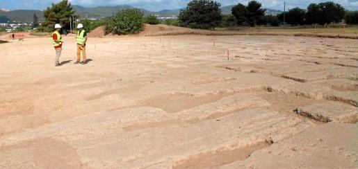 Imagen de los restos arqueológicos hallados durante las obras en la carretera de Santa Eulària.