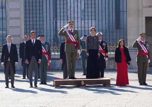 Los Reyes, durante la celebración de la Pascua Militar, a la que ha acudido Pedro Sánchez por primera vez como presidente del Gobierno.