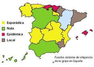 Gráfico de la incidencia de la gripe en España en este inicio de año.