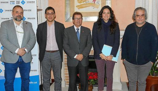 El informe GEM referido a 2017 en Balears, el primero realizado en las Islas, fue presentado este jueves por Jordi Llabrés, Iago Negueruela, Llorenç Huguet, Núria Hinojosa y Julio Batle.