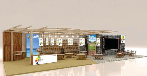 Imagen digital del espacio de Ibiza en Fitur, que este año han diseñado en la Escola d'Arts a propuesta del Consell Insular.