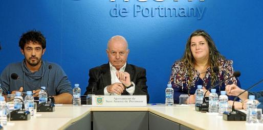 Pablo Valdés, Pep Tur y Cristina Ribas, en el último pleno celebrado en el Ayuntamiento de Sant Antoni