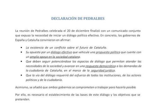 El Gobierno ofreció a los independentistas plantear «con total libertad» sus propuestas en la mesa de partidos.