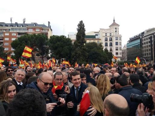 Concentración contra Pedro Sánchez en Madrid.