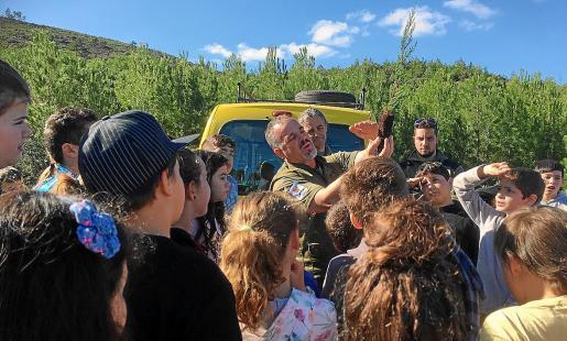 Personal del Ibanat llevó para la actividad un centenar de planteles de sabina cultivados en Mallorca con frutos de sabina de Ses Salines.