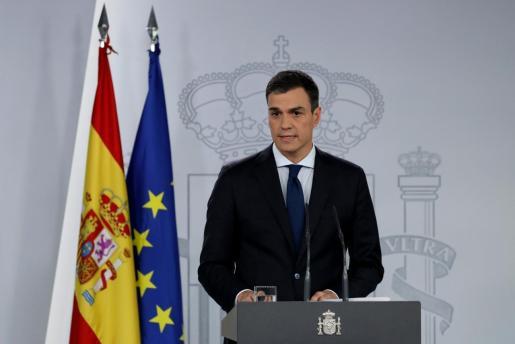 Pedro Sánchez durante su comparecencia.