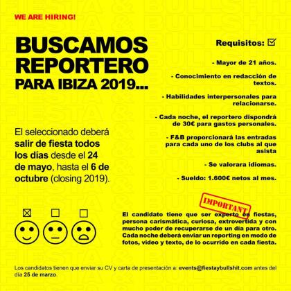 Imagen del anuncio publicado por la revista Fiesta & Bullshit