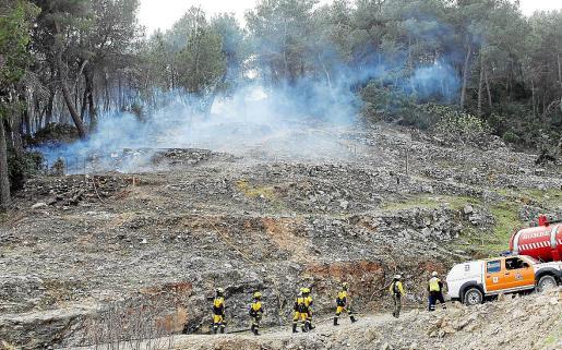 El incendio movilizó a un gran contingente de medios entre efectivos del Ibanat, Bomberos, Policía Local, Guardia Civil, Protección Civil y 061, personal necesario para atajar el primer gran incendio del año.