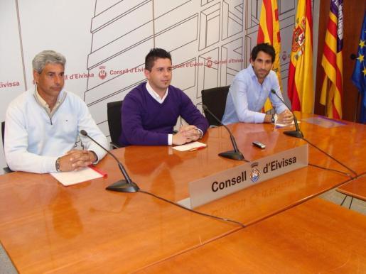 Óscar Not, Rafa Triguero y Alejandro Catalina, ayer durante la presentación de la prueba del Pádel Pro Tour que se disputará en Eivissa.