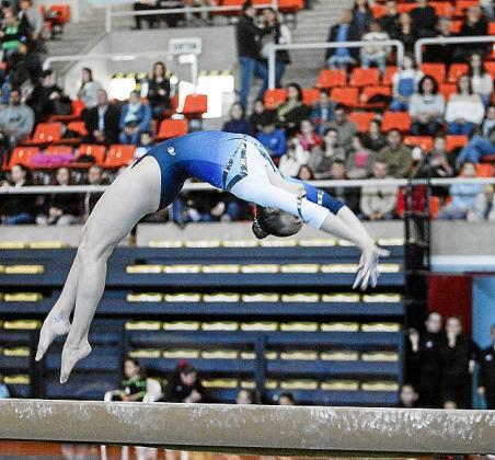 Una gimnasta, durante su ejercicio.