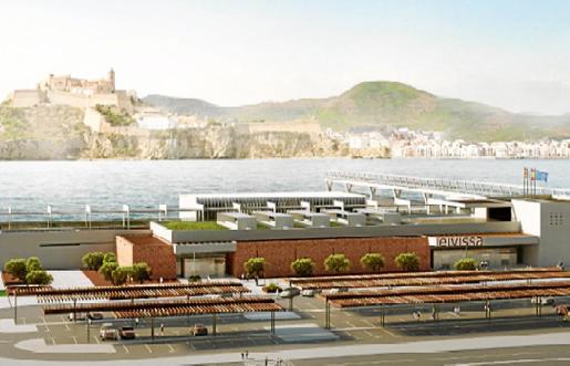 Recreación de la futura estación marítima definitiva de es Botafoc.