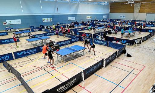 Imagen del último Campeonato de Balears de tenis de mesa celebrado en el polideportivo de Can Coix.
