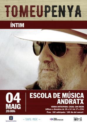 Cartel del concierto de Tomeu Penya en la Escola de Música de Andratx.