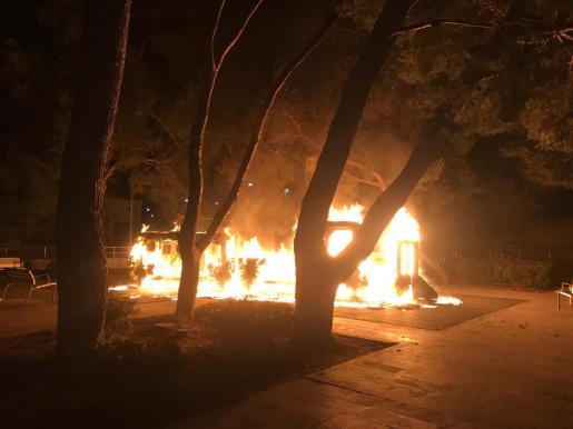 Imagen de las llamas en el parque infantil.